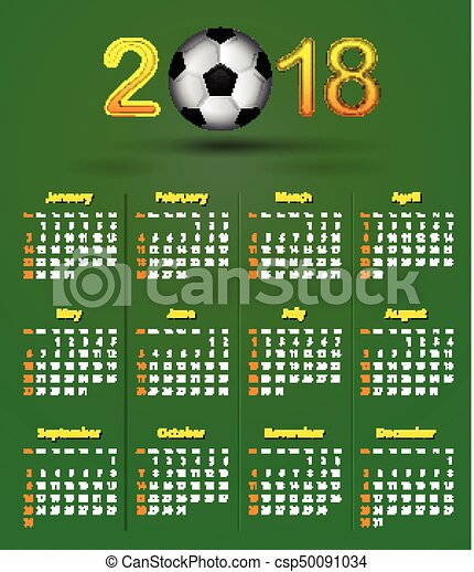 Soccer calendar for 2018 on green linen texture. football theme