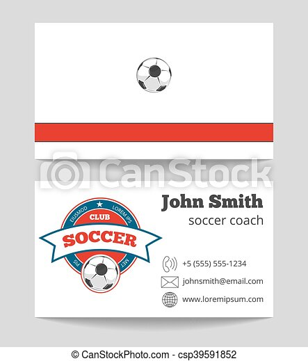 Soccer coach business card template with logo football trainer card soccer coach business card template with logo csp39591852 reheart Gallery