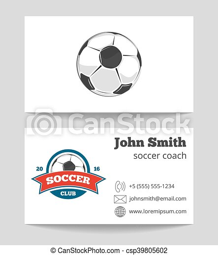 Soccer coach business card template with logo soccer sport game soccer coach business card template with logo csp39805602 reheart Gallery