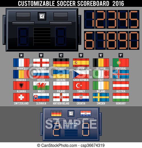 Soccer Electronic Scoreboard TemplateReady For Your Text  Vector