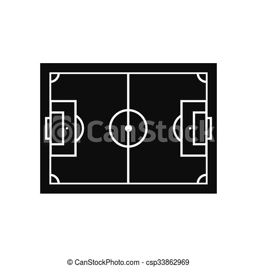 Soccer Field Layout Black Simple Icon Isolated On White Background