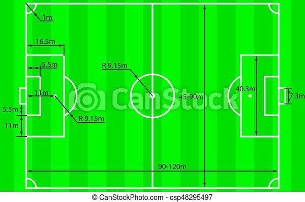 Soccer Field Plan Vector Soccer Field Or Football Field Plan With Dimensions Vector Illustration