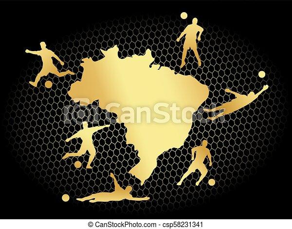 soccer football background gold brasil - csp58231341