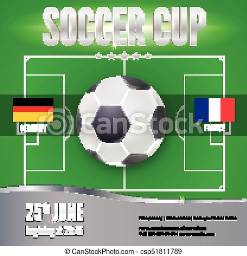Soccer Football Banner Template For Game Tournament Soccer Ball Above Green Field Top View Sport Events Design For