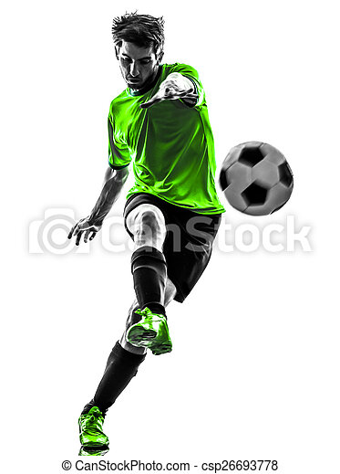 soccer football player young man kicking silhouette - csp26693778