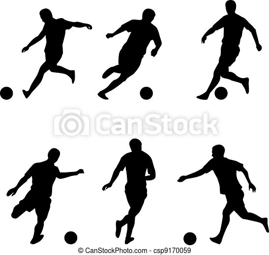 Soccer, football players silhouettes - csp9170059