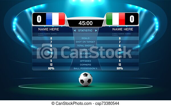 soccer football stadium spotlight and scoreboard background with glitter light vector illustration can stock photo