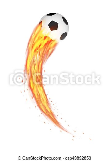 soccer football with a curve burning fire vector - csp43832853