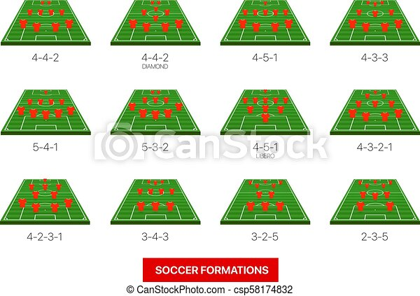 soccer formations vector collection isolated on white infographic