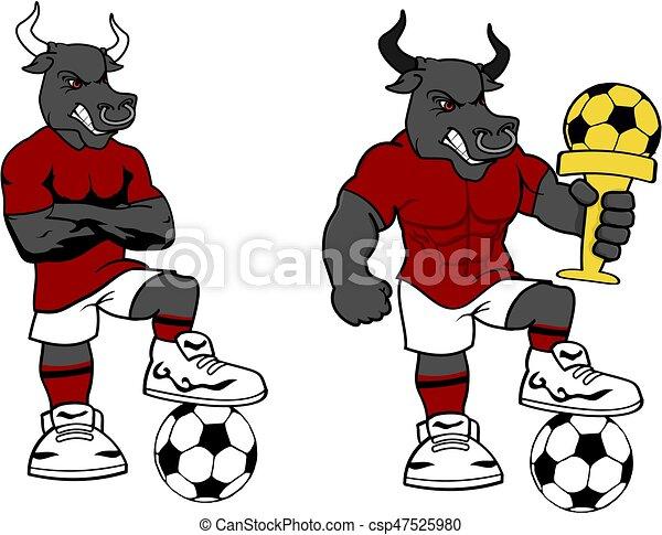 soccer futbol strong bull cartoon set - csp47525980