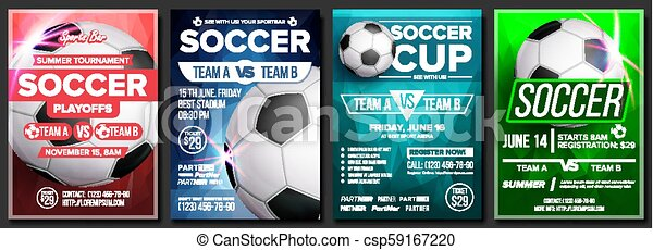 Soccer Game Poster Set Vector Modern Soccer Tournament Design For Sport Bar Pub Promotion Football Ball Sport Event