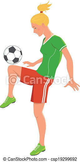 soccer girl blond teenage girl playing soccer kicking a eps rh canstockphoto com teen girl clip art images teenage girl clipart