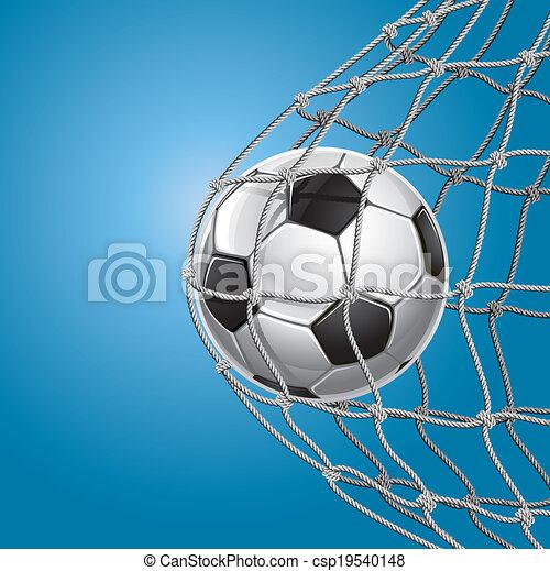Soccer Goal. Soccer ball in a net. - csp19540148
