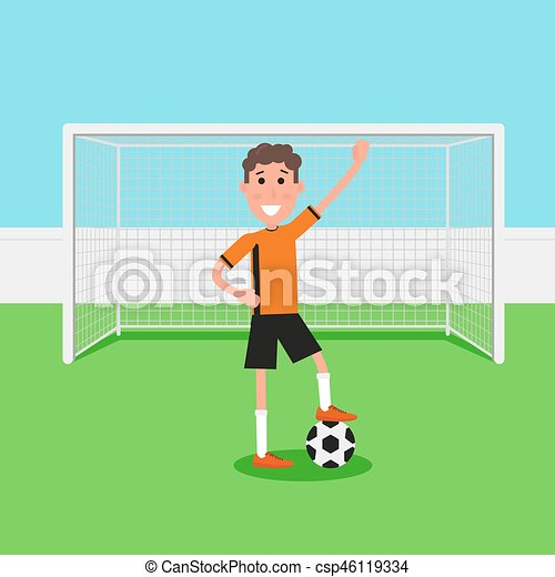 Soccer goalkeeper keeping goal on arena, Athlete with a soccer ball  Flat  character in cartoon style  Vector illustration