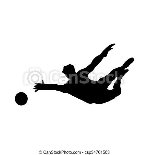 Soccer goalkeeper silhouette - csp34701583