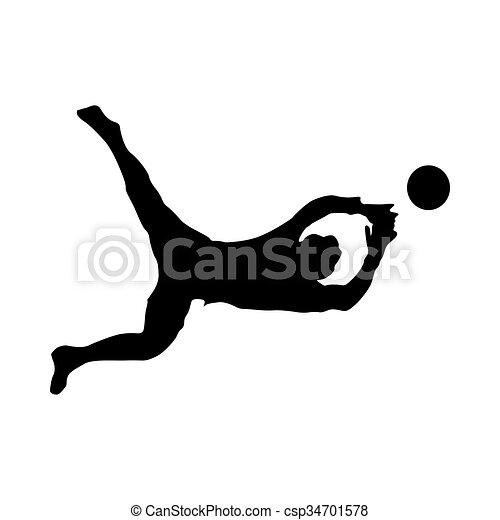 Soccer goalkeeper silhouette - csp34701578
