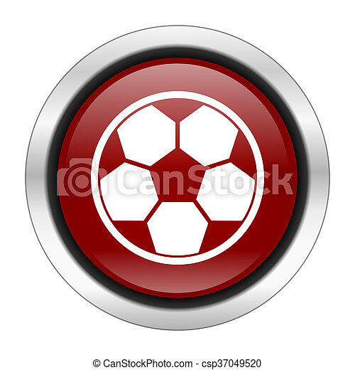 soccer icon, red round button isolated on white background, web design illustration - csp37049520