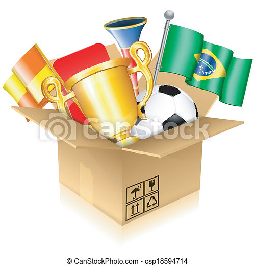 04099c5c6 Soccer items. Soccer concept - open cardboard box with brazil ball ...