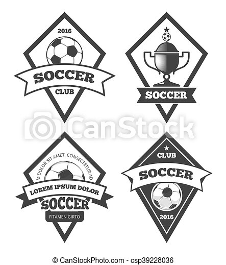 Soccer logo templates collection isolated white. soccer or football ...