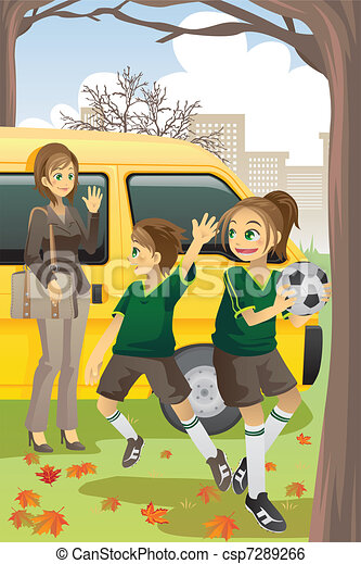 Mom Dropping Kids Off At School Clipart