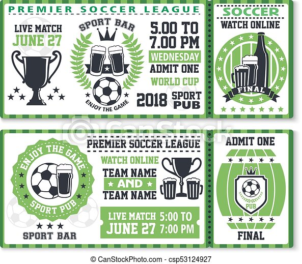 Soccer or football sport game ticket template. Soccer or football ...