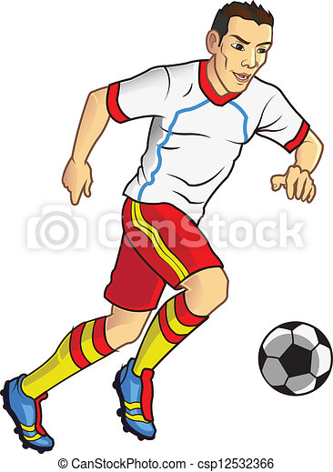 soccer player dribbling ball rh canstockphoto com clipart pictures soccer players soccer player clipart png