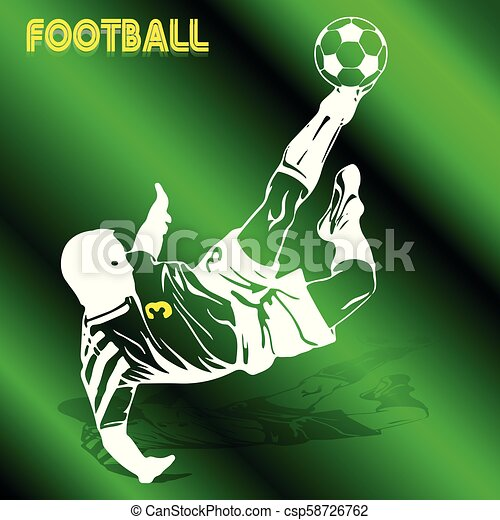 Soccer player in a jump beats the ball with his foot, white silhouette-pattern on a green background, - csp58726762