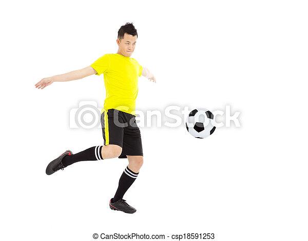 Soccer Player Kicking Ball - csp18591253