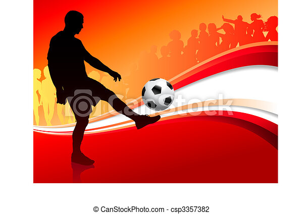 Soccer Player on Abstract Red Background - csp3357382