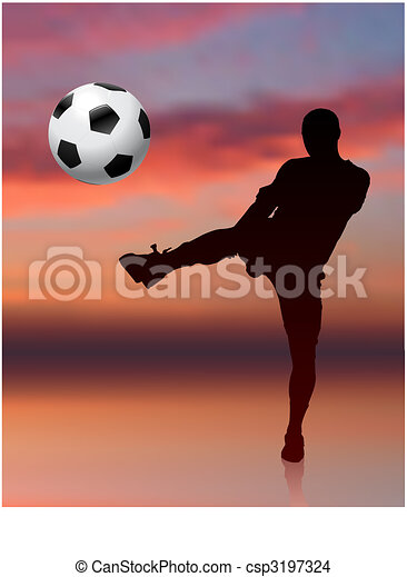 Soccer Player on Evening Background - csp3197324
