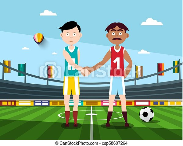 Soccer Players Holding Hands on Football Stadium. Vector Illustration. - csp58607264
