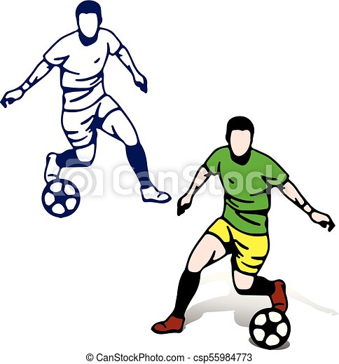 soccer players with the ball in motion playing silhouette cartoon rh canstockphoto com soccer player cartoon drawing soccer player cartoon 3d model