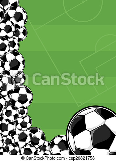 Soccer Playing Field Background Soccer Balls Border On Green Playing Field Background