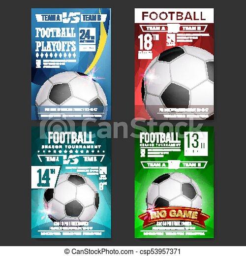 Soccer Poster Set Vector Design For Sport Bar Promotion Football
