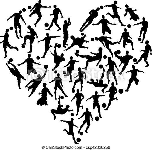 Soccer Silhouettes Heart - csp42328258