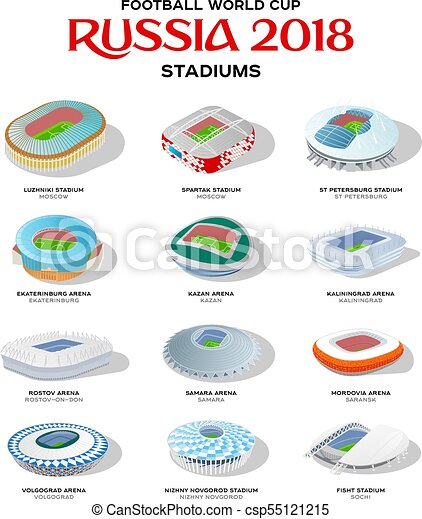 d9fe861a266 Soccer stadium colored set. Isometric icon set or infographic ...