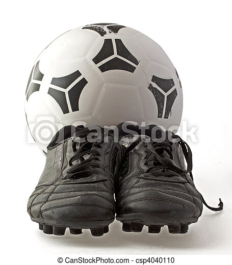 feae507fe Soccer ball with two old black soccer shoes, isolated over white.