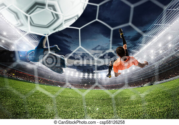 Soccer striker hits the ball with an acrobatic bicycle kick. 3D Rendering - csp58126258