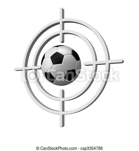 Soccer target. Gun sight with soccer ball on white background - 3d ... 6cb74ecd4d33