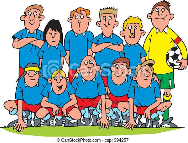 nice soccer team isolated on white background vectors illustration rh canstockphoto co uk football team clipart black and white football team clipart black and white