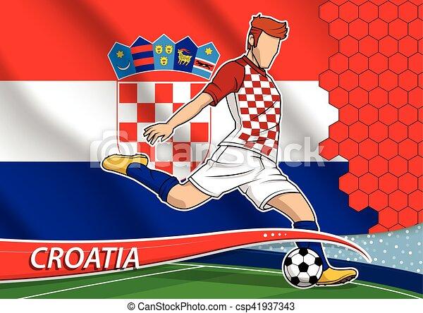 Soccer Team Player In Uniform With State National Flag Of Croatia. Vector  Illustration. 6af84264d