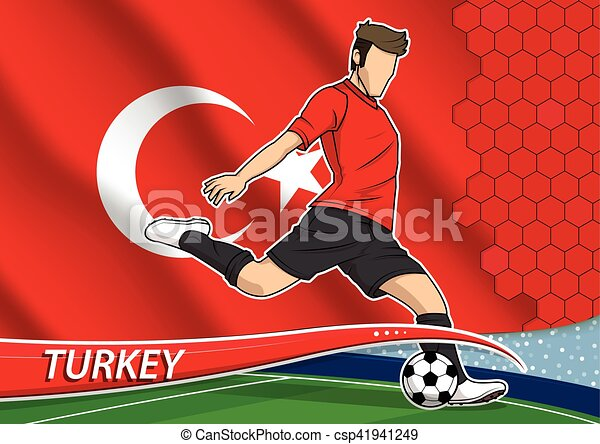 Soccer team player in uniform with state national flag of Turkey. Vector illustration. - csp41941249