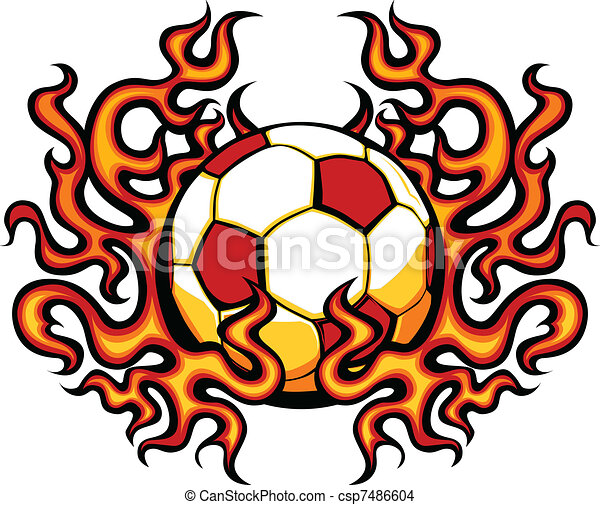 soccer template with flames vector graphic soccer vector image