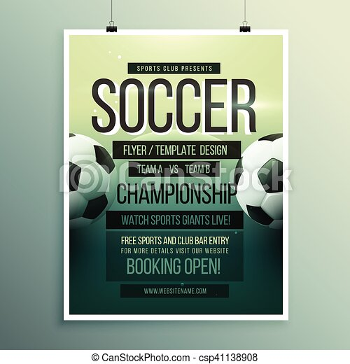 Soccer Tournament Championship Game Flyer Brochure Template