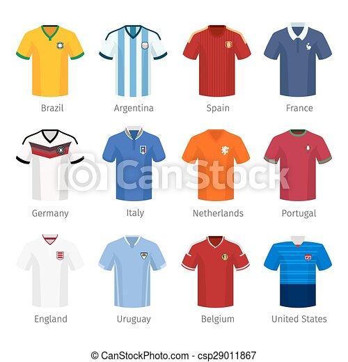 48ed324ab Soccer uniform or football of national teams. argentina brazil spain ...
