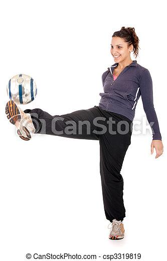 soccer woman kicking ball - csp3319819