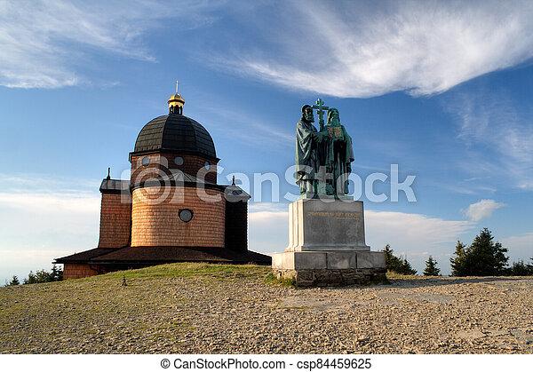 socha, republika, čech, radhost, methodius, cyril, hlava, st., kaple, hora - csp84459625