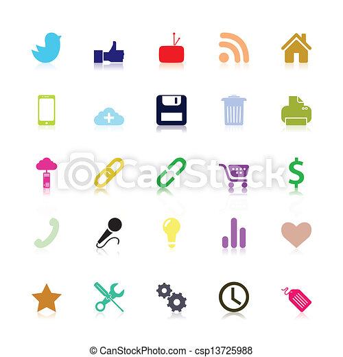 sociaal, gekleurde, iconen - csp13725988