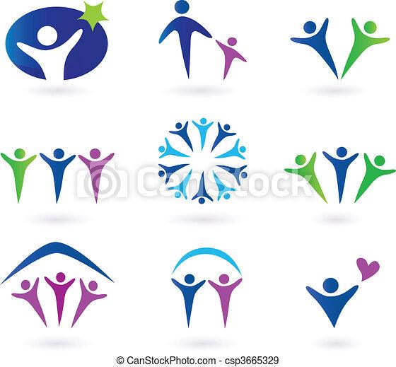 sociaal, gemeenschap, netwerk, iconen - csp3665329