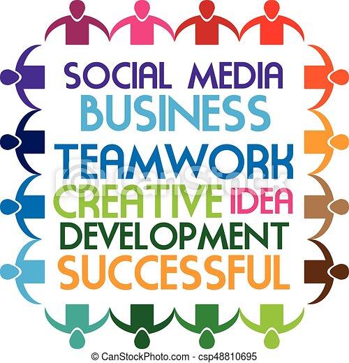 sociaal, logo, mensen, teamwork, media - csp48810695